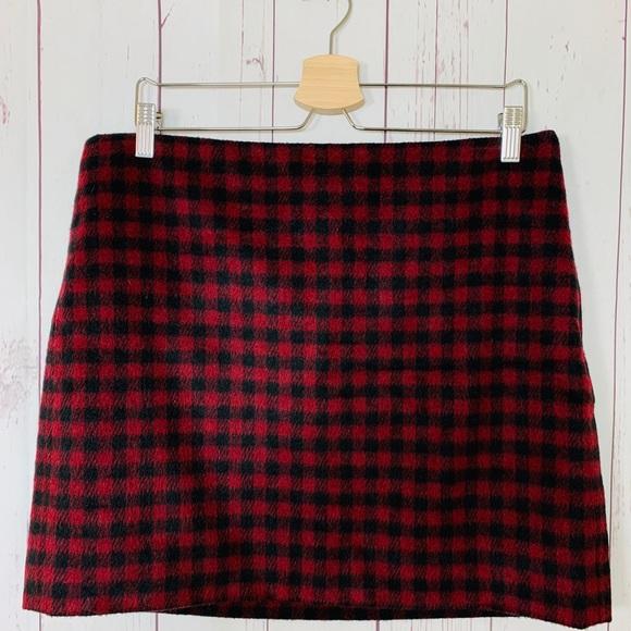 Madewell Dresses & Skirts - Madewell Mini Straight Skirt Buffalo Check Wool